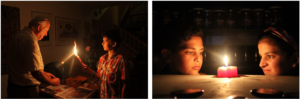 Two photographs in a work titled Mutuality. In one a grandfather and grandson engaged in a religious ritual. In the second, a young girl and boy stare at a candle.