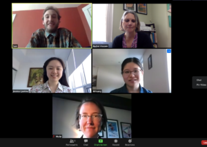 five people on a zoom call
